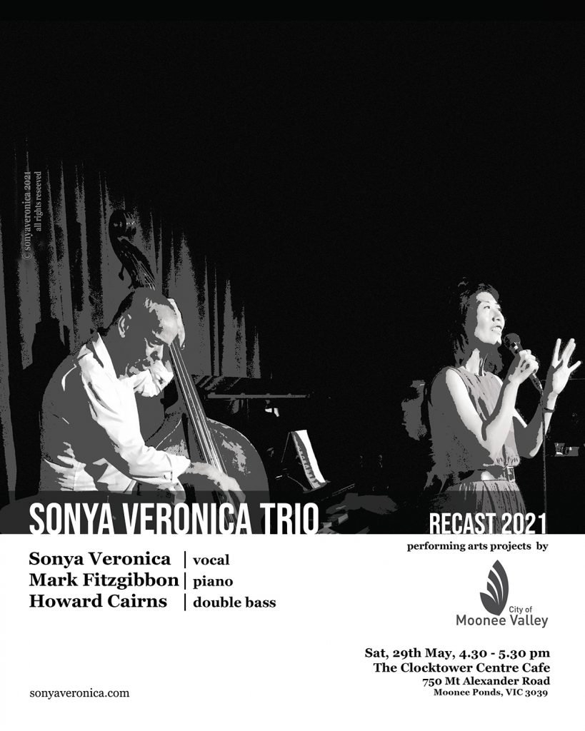 A vocalist on stage performing with a double bassist and a pianist on stage. Below the image, information of the performance and the performers' names as presented in the text